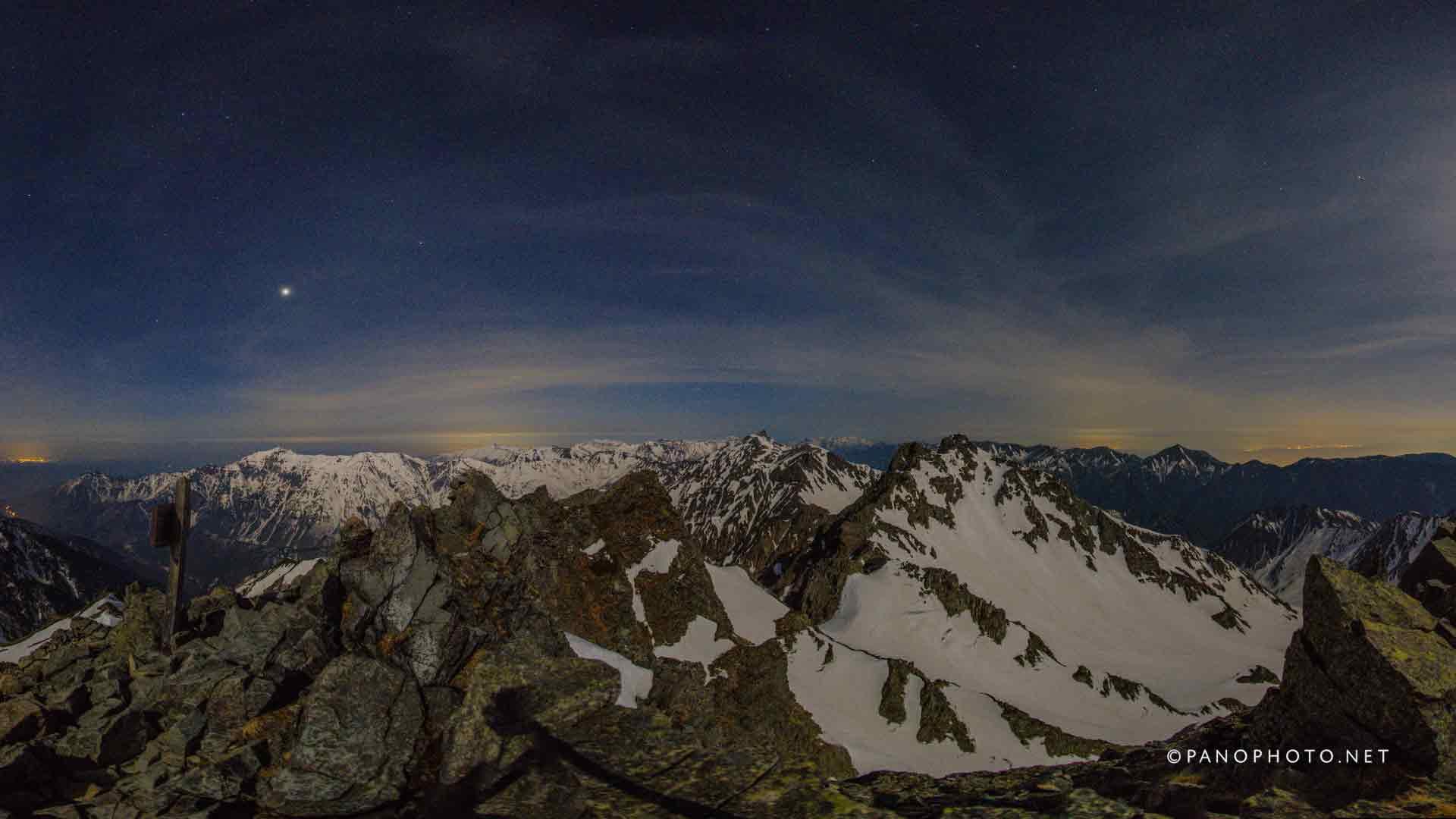Moonlight view from Karasawadake Peak | Nikon D810 + Nikon AF Fisheye-Nikkor 16mm f/2.8D